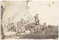 zwei landschaften mit pferden und staffage (2 works) by dirk stoop