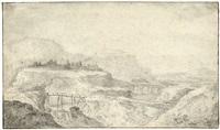 gebirgslandschaft mit blick auf eine stadt by cornelis simonsz van der schalcke