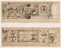 zwei wandfriese mit groteskenornament und bildschmuck für den palazzo pallavicini rospigliosi in rom (2 works) by cherubino alberti