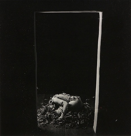 images from the clay series woman laying in doorway woman with face wrapped in gauze self portrait in doorway self portrait in water 4 works by robert stivers
