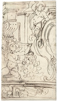 entwurf für eine wanddekoration mit einer wappenkartusche und zwei putti (+ pilasterentwurf und eine weibliche figur, verso) by cherubino alberti