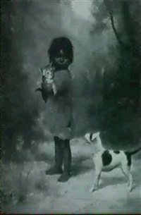 indian girl with cat and dog by alice coutts
