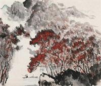 秋江泛舟图 镜心 设色纸本 by luo ming