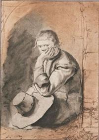 junger mann mit hut, sitzend by loos van amstel