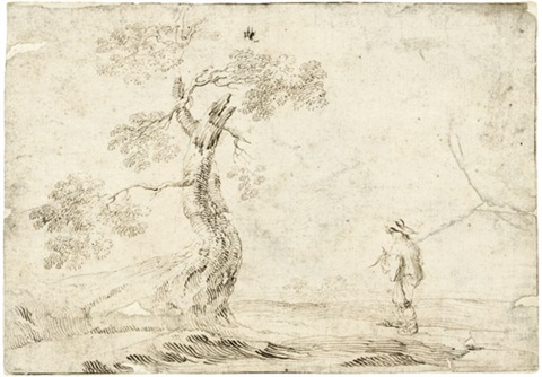 an einem baum stehende männliche figur in einer landschaft by stefano della bella