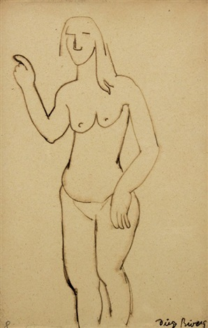 standing female nude by diego rivera