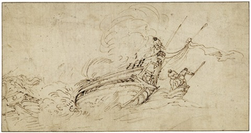 ein bei stürmischer see gekentertes schiff by stefano della bella