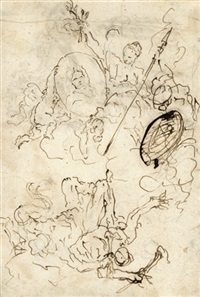 die apotheose eines fürste (+ skizze zu einem fürstlichen grabmal; verso) by daniel gran