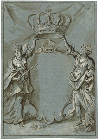 bekrönte titelvignette, getragen von zwei allegorischen figuren by jacob matthias weyer