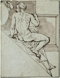 sitzende männliche figur in rückenansicht: entwurf für eine dekoration in der cappella paolina im vatikan by federico zuccaro