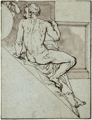sitzende männliche figur in rückenansicht entwurf für eine dekoration in der cappella paolina im vatikan by federico zuccaro