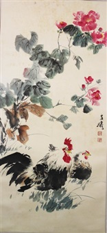 chicken and peony by wang xuetao
