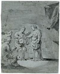 eine marktszene mit einem händler und einer weiblichen figur (judith?) by leonard bramer