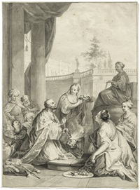 die krönung der esther (design for a painting) by wenzel bernhard ambrozy
