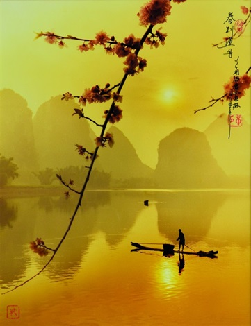 spring lights the fishing boat by don hong oai