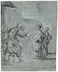 judith mit ihrer dienerin, weinkrüge tragend am zeltlager von holofernes truppen bei nacht by leonard bramer