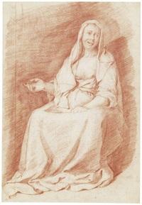 junge magd auf einem stuhl sitzend by jan de bray