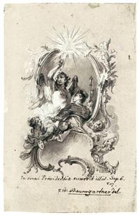 rocaillekartusche mit der allegorie der göttlichen weisheit by johann wolfgang baumgartner