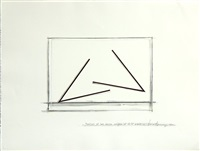 position of two acute angles of 42.5 degrees each; position of three major acrs of 256.5 degrees each; position of an undetermined line (3 works) by bernar venet