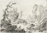 felsige flußlandschaft mit zwei wäscherinnen im vordergrund by jacques gamelin