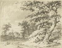 dörfliche landschaft mit sitzendem bauern by pieter barbiers bartholomeusz