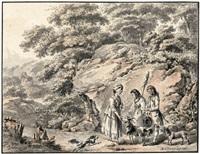 idyllische, südliche landschaft mit jungen hirtenpaar, hirtenmädchen, ziegenbock und hunden by balthasar anton dunker