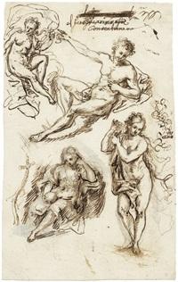 maria magdalena, venus und zwei weiteren figuren (sketch) (+ figuren (study); verso) by daniel gran