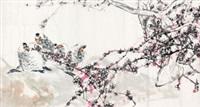 红梅鹦鹉 镜心 设色纸本 by jiang wenzhan