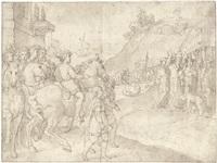 historische szene mit edelmann und seinem gefolge an einem fluß by federico zuccaro