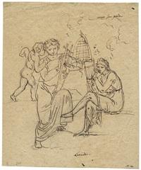 zwei männer mit lyra und cupido (leonidas und alexander der große?) by nicolaj-abraham abilgaard