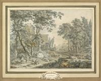 arkadische landschaft mit der statue von priapos; arkadische landschaft mit der ruhe auf der flucht. zwei by johannes de bosch