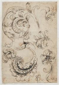 ornamentblatt mit akanthusranken by francesco da volterra