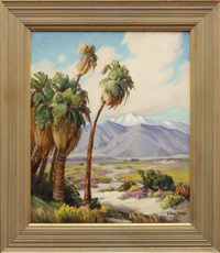 desert scene with palm trees by evylena nunn miller
