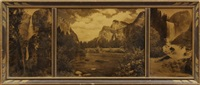 yosemite falls, vernal falls, merced river (triptych) by a.c. pillsbury