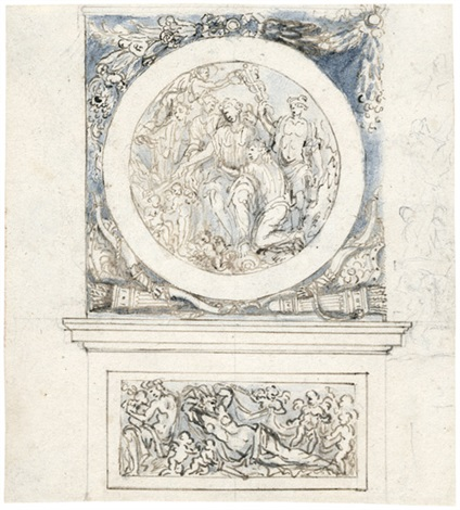 vorzeichnung für ein wandmonument mit rondel darin eine allegorische darstellung eines helden mit merkur by abraham van diepenbeeck