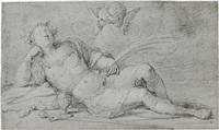 lagernder römischer märtyrer mit zwei cherubinen by pompeo girolamo batoni