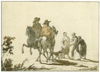 bettler vor zwei vornehmen herren zu pferd by johann jakob dorner the younger