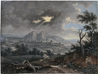 stürmische gewitterlandschaft mit einem reiter und seinem hund by carl sebastian von bemmel