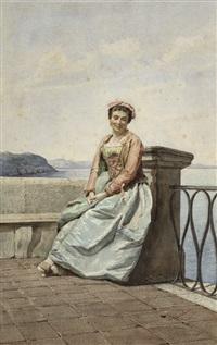 junge italienerin auf einer terrazza am meer by federico bartolini