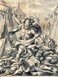 allegorie der zorns (herkules mit zwei ungebändigten löwen durch ein feldlager stürmend) by michael ignaz mildorfer