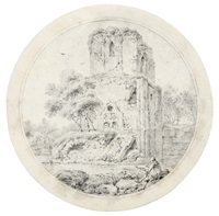 zeichner vor der ruine einer gotischen kirche by balthasar anton dunker