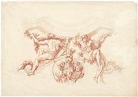 entwurf für die ecke eines deckenplafonds: zwei karyatiden flankieren athena, eingefasst im gesprengten segmentgiebel by noël le mire