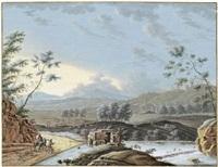 flusslandschaft mit bauern beim bestellen ihrer felder by louis nicolas van blarenberghe
