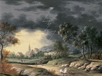 gewitterlandschaft mit reitern by louis nicolas van blarenberghe