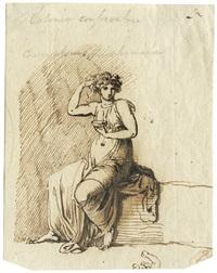 sitzende antike frauenfigur mit schale in der hand by nicolaj-abraham abilgaard