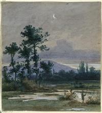 mondscheinlandschaft mit einem angler, im hintergrund ein gebirgszug (zittauer gebirge?) by ludwig eduard boll