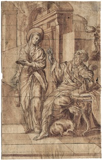 die verstoßung der hagar (der tote christus am fuße des kreuzes liegend; 2 works) by johann fromiller