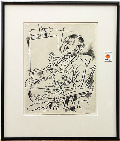 self portrait with dog beofre easel by george grosz