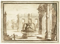 bühnenprospekt mit springbrunnen by carlo antonio buffagnotti