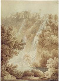 la grotte de neptune à tivoli; villa di mecenate à tivoli (2 works) by friedrich wilhelm gmelin